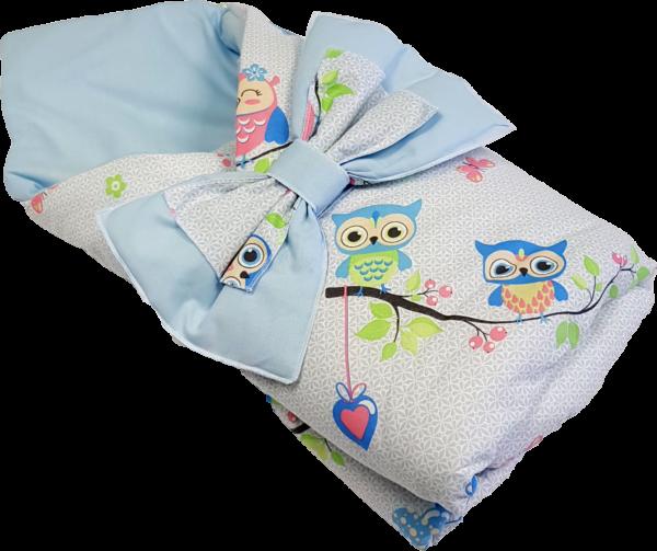 Конверт для новорожденных Совушки голубой